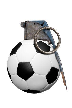 Soccer ball grenade isolated over white  Imagens