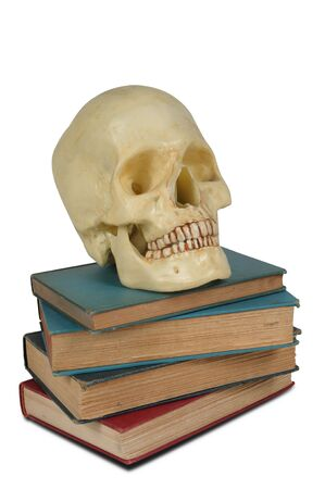 brainpan: Human Skull on a stack of old books isolated over white