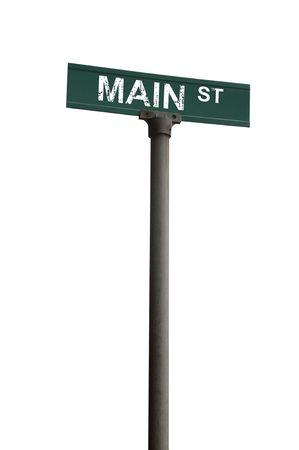 main street: Main street segno su uno sfondo bianco