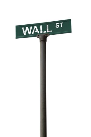 Wall street sign over a white background
