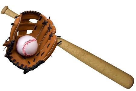 baseball glove: Bate de b�isbol, pelota y guante blanco aisladas sobre