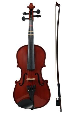 ヴァイオリンと弓パスと白い背景の上の分離