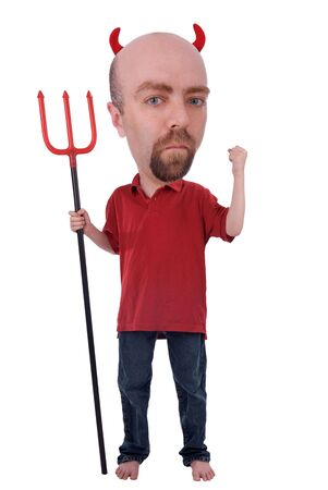 horrify: Man in a devil costume with horns and a trident isolated over white Stock Photo