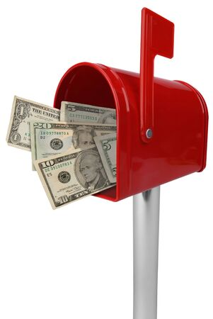 you've got mail: A standard red mailbox American money and flag isolated over white