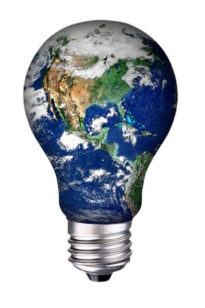 incondescent lightbulb with earth inside