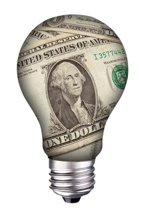 idea: incondescent lightbulb with dollar bills inside Stock Photo
