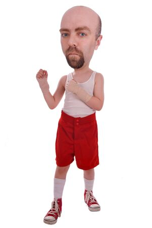 Strange boxer in red shorts and sneakers isolated over a white background
