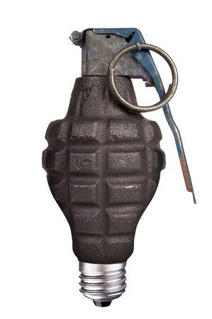 frag: incandescent lightbulb with hand grenade inside