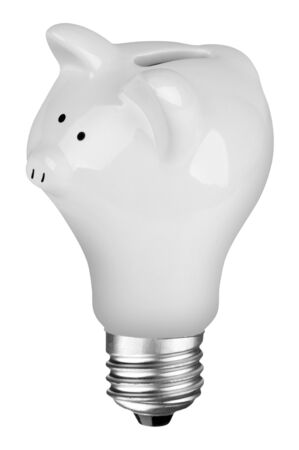 incandescent lightbulb with Piggybank inside isolated over white