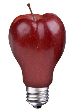 incandescent lightbulb with apple inside isolated over white  Reklamní fotografie