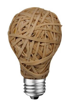 rubberband: Rubberband Ball lightbulb isolated over a white background with clipping path Stock Photo