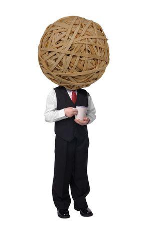 rubberband: apuesto joven atractivo con una cabeza de Rubberband Ball vestido con traje con caf� en mano sobre fondo blanco.