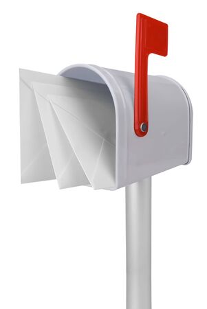 you've got mail: A standard white mailbox with mail and red flag isolated over white with a clipping path