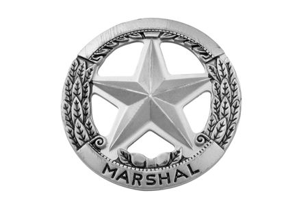 office force: vintage toy deputy marshal star badge over white with a clipping path