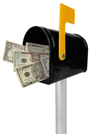 you've got mail: A standard black mailbox American money and flag isolated over white