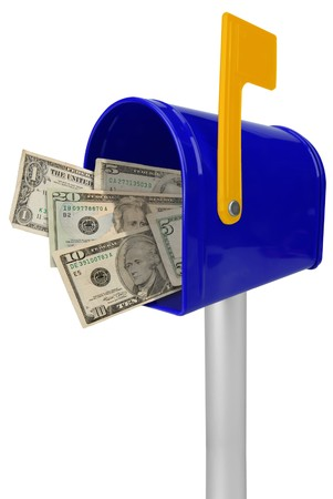 A standard blue mailbox American money and flag isolated over white