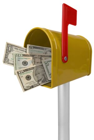 you've got mail: A standard yellow mailbox American money and flag isolated over white