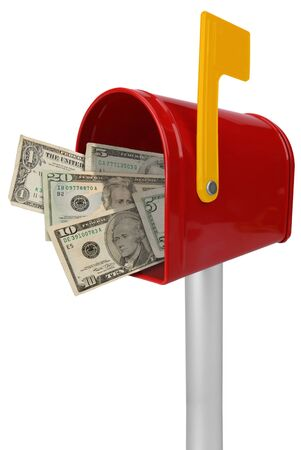 A standard red mailbox American money and flag isolated over white photo