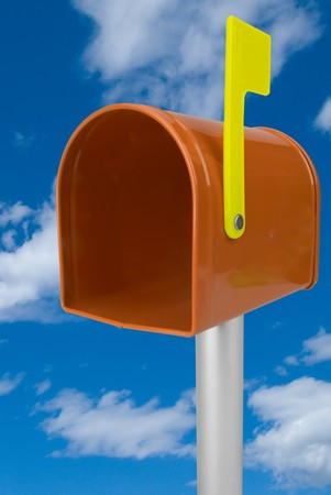 you've got mail: A standard orange mailbox and flag isolated over a blue sky Stock Photo