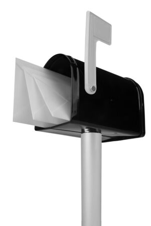 you've got mail: A standard black mailbox with mail and flag isolated over white