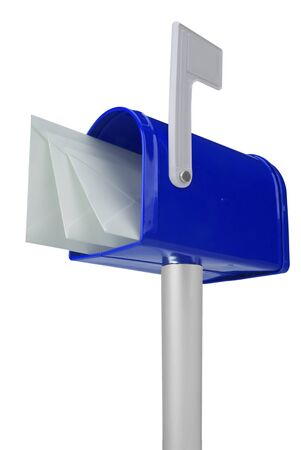 A standard blue mailbox with mail and flag isolated over white Stock Photo - 8137176