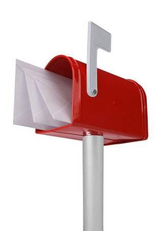 you've got mail: A standard red mailbox with mail and flag isolated over white