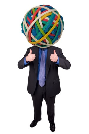 rubberband: Businessman with a rubberband head and thumbs up isolated over white