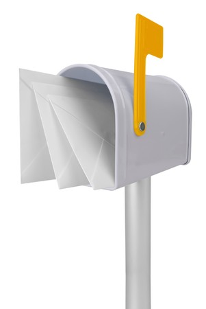 you've got mail: A standard white mailbox with mail and yellow flag isolated over white