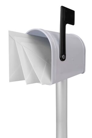 you've got mail: A standard white mailbox with mail and black flag isolated over white