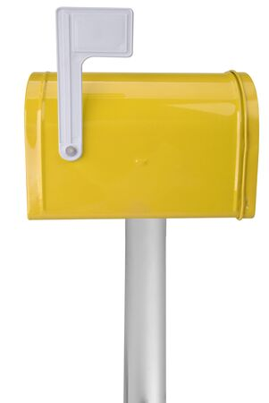 A standard yellow mailbox with a flag over a white background Stock Photo