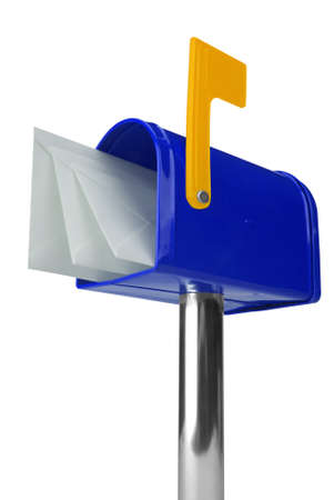 A standard blue mailbox with mail and flag isolated over white