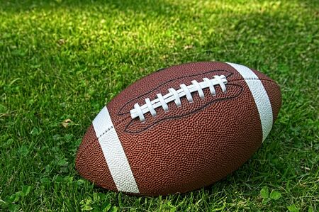 American football isolated laying in the summer grass Stok Fotoğraf