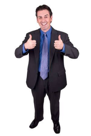 Businessman with thumbs up isolated over a white background