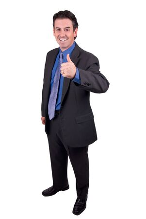 Business man with thumbs up isolated over a white background Stock Photo