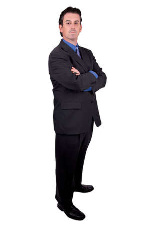 Businessman with arms crossed isolated over white