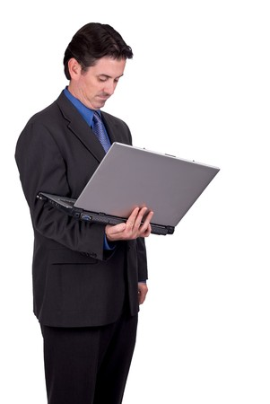 Businessman holding his laptop isolated over white