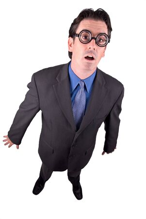 Businessman geek standing in a shocked position isolated over a white background
