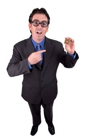 Businessman geek standing and holding a CPU computer chip isolated over a white background