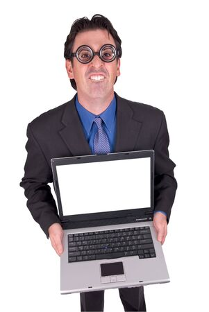 Businessman geek standing and holding a laptop computer isolated over a white background