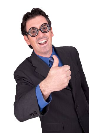 Businessman geek giving the thumbs up isolated over white