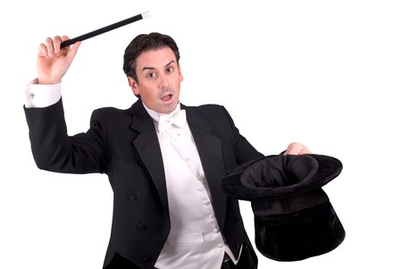 dazzle: Magician holding a magic wand and a hat isolated over white background