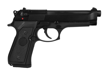 semi automatic: Black semi automatic handgun isolated on white background with a clipping path  Stock Photo