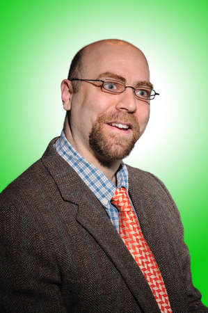 College Professor with a tweed coat and an orange tie over a green background