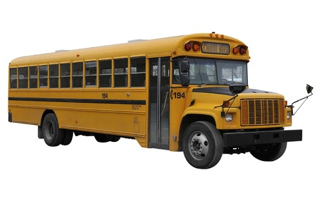 public schools: School Bus isolated over a white background