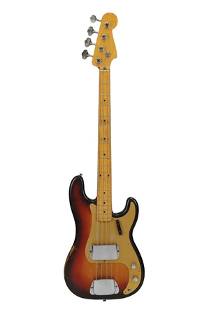 band instruments: Vintage Electric Bass guitar isolated over a white background