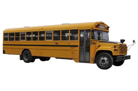 high schools: School Bus isolated over a white background. Stock Photo