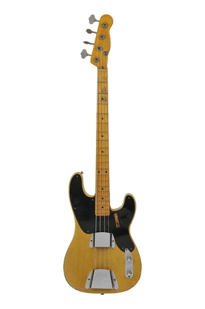 guitar: Vintage Electric Bass guitar isolated over a white background