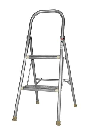 A used metallic step ladder isolated on white with a clipping path