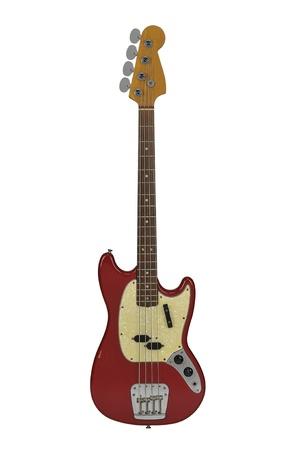 白色の背景上分離したヴィンテージ電気ベースギター