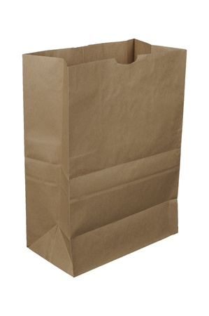 Brown paper bag isolated over a white bachground